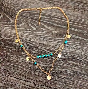 Jewelry - Boho Chic Gold toned and Turqoise Double Necklace